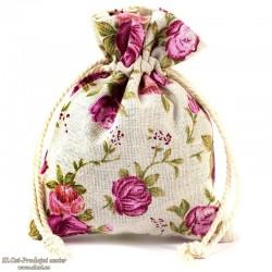 Lanena vrečka 10x8 cm, z vzorcem rož