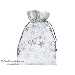 Snežinke s srebrno borduro 30x20 cm