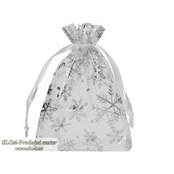 Bela s srebrnimi snežinkami 15x10 cm