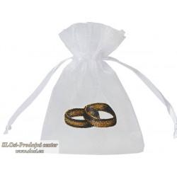 Prosojno tkana vrečka 10x7,5 cm, poročna prstana