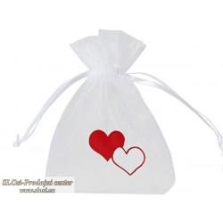 Prosojno tkana vrečka 10x7,5 cm, motiv srca