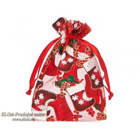 Božična vrečka, prosojna z motivom, 14x9 cm, rdeča