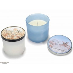 Dišeča sveča v steklu z naravnim voskom, kovinski pokrov