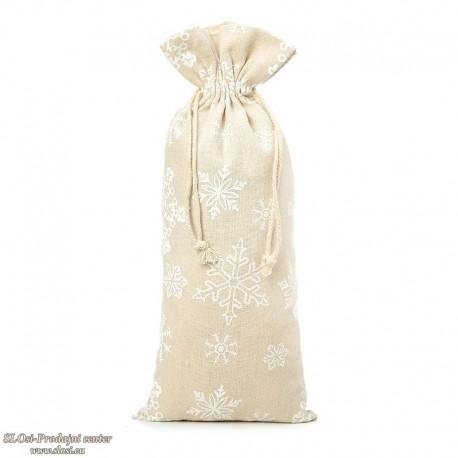 Lanena s snežinkami 37x16 cm, za steklenico, 100% naravna